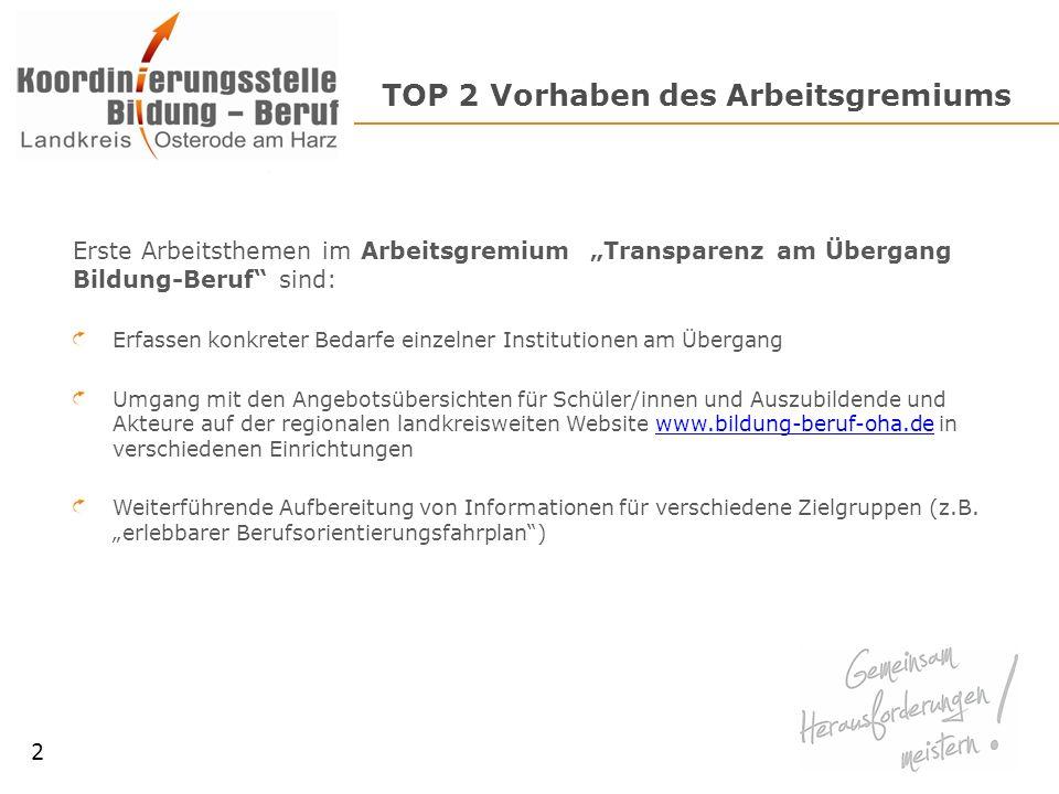 TOP 2 Vorhaben des Arbeitsgremiums Erste Arbeitsthemen im Arbeitsgremium Transparenz am Übergang Bildung-Beruf sind: Erfassen konkreter Bedarfe einzel
