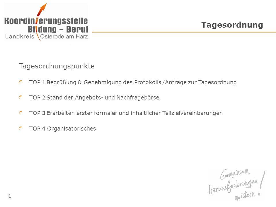 Tagesordnung Tagesordnungspunkte TOP 1Begrüßung & Genehmigung des Protokolls /Anträge zur Tagesordnung TOP 2Stand der Angebots- und Nachfragebörse TOP 3Erarbeiten erster formaler und inhaltlicher Teilzielvereinbarungen TOP 4 Organisatorisches 1
