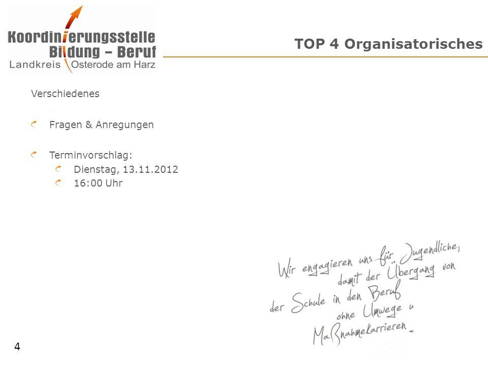 TOP 4 Organisatorisches 4 Verschiedenes Fragen & Anregungen Terminvorschlag: Dienstag, 13.11.2012 16:00 Uhr