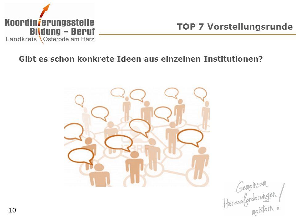 TOP 7 Vorstellungsrunde 10 Gibt es schon konkrete Ideen aus einzelnen Institutionen?