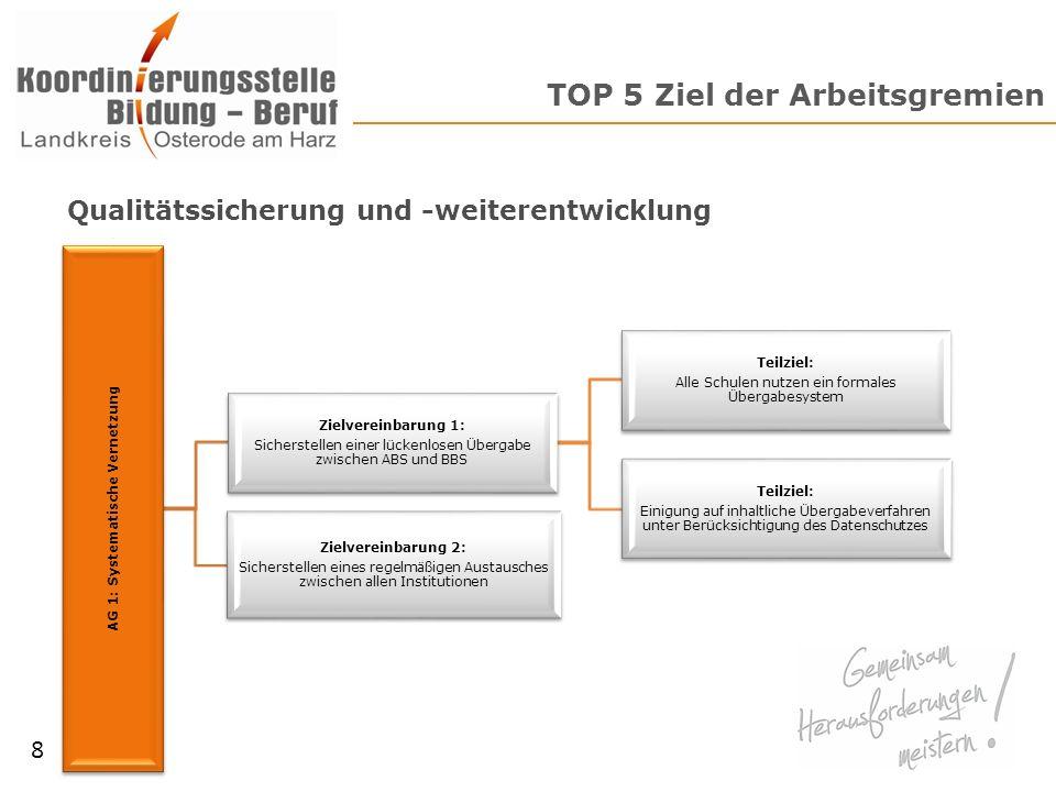 TOP 6 Arbeitsgrundlage Beispiel: Systematische Vernetzung am Übergang Bildung-Beruf 9 Eigenes Hauptinteresse Art der Vernetzung