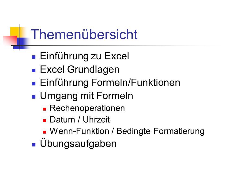 Themenübersicht Einführung zu Excel Excel Grundlagen Einführung Formeln/Funktionen Umgang mit Formeln Rechenoperationen Datum / Uhrzeit Wenn-Funktion