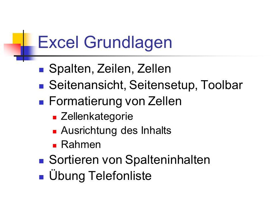 Excel Grundlagen Spalten, Zeilen, Zellen Seitenansicht, Seitensetup, Toolbar Formatierung von Zellen Zellenkategorie Ausrichtung des Inhalts Rahmen So