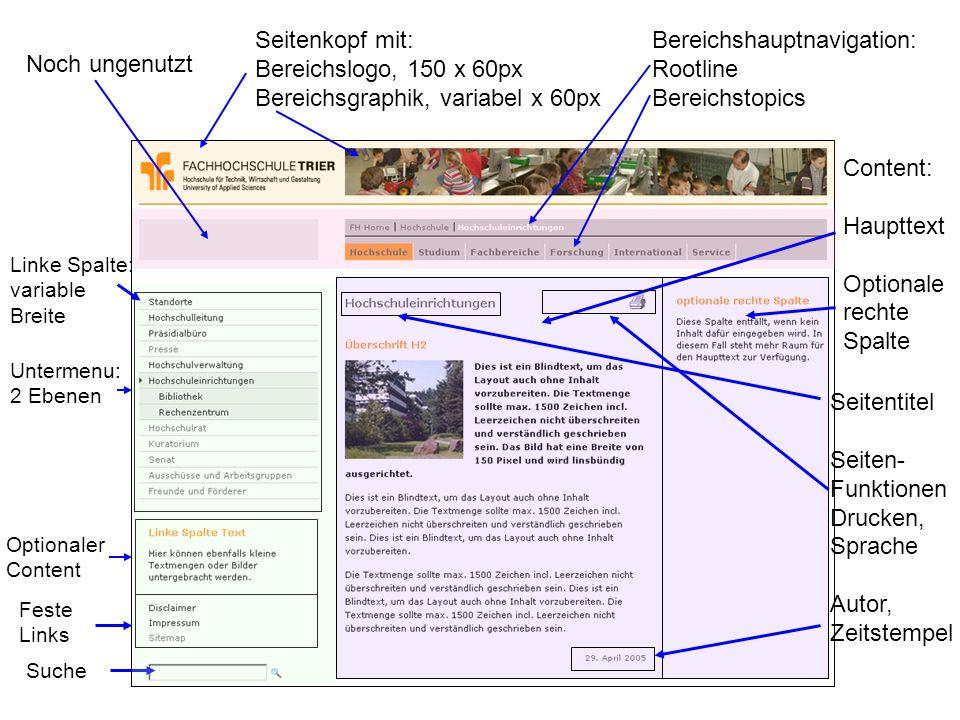 Seitenkopf mit: Bereichslogo, 150 x 60px Bereichsgraphik, variabel x 60px Bereichshauptnavigation: Rootline Bereichstopics Noch ungenutzt Untermenu: 2