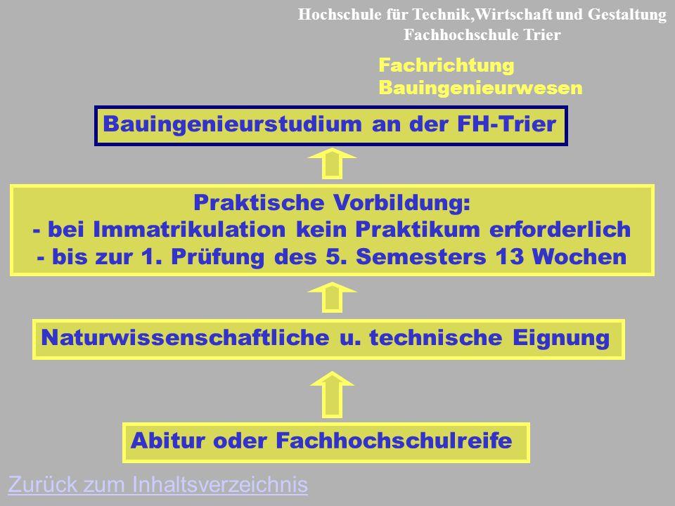 Hochschule für Technik,Wirtschaft und Gestaltung Fachhochschule Trier Fachrichtung Bauingenieurwesen Abitur oder Fachhochschulreife Praktische Vorbildung: - bei Immatrikulation kein Praktikum erforderlich - bis zur 1.