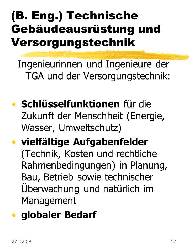 27/02/0812 (B. Eng.) Technische Gebäudeausrüstung und Versorgungstechnik Ingenieurinnen und Ingenieure der TGA und der Versorgungstechnik: Schlüsselfu