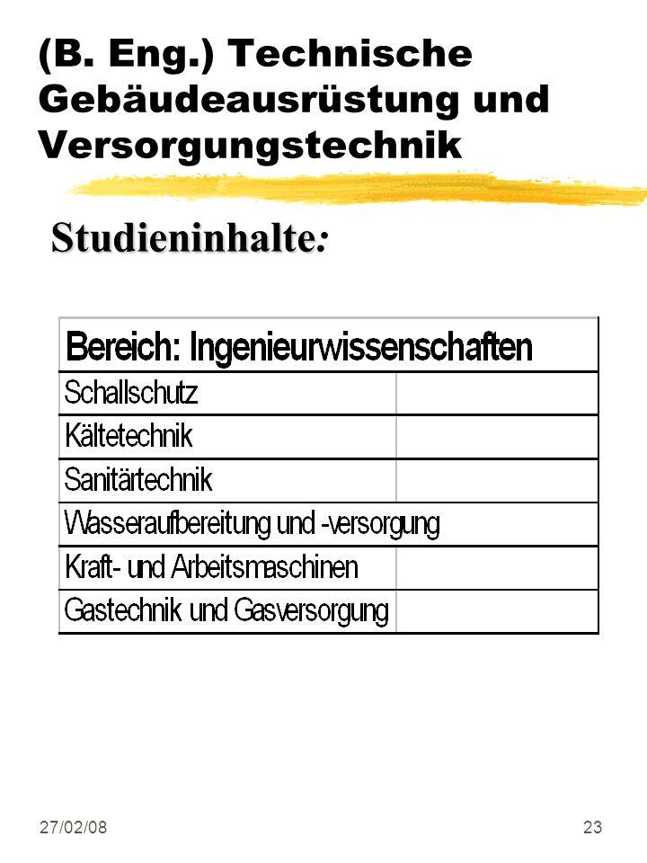 27/02/0823 (B. Eng.) Technische Gebäudeausrüstung und Versorgungstechnik Studieninhalte Studieninhalte: