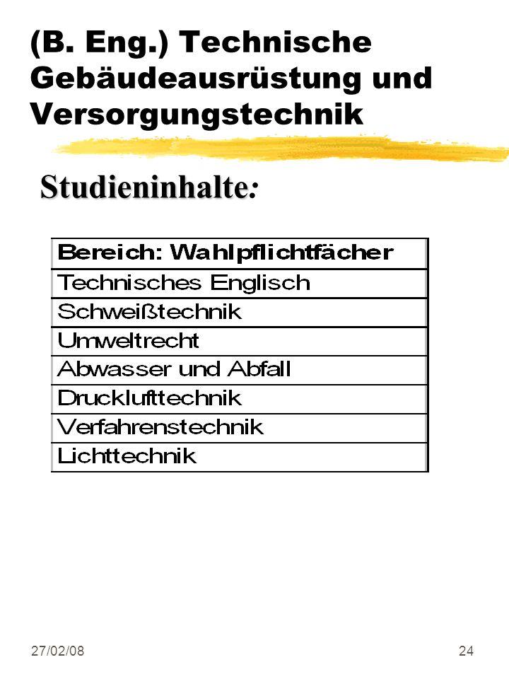27/02/0824 (B. Eng.) Technische Gebäudeausrüstung und Versorgungstechnik Studieninhalte Studieninhalte: