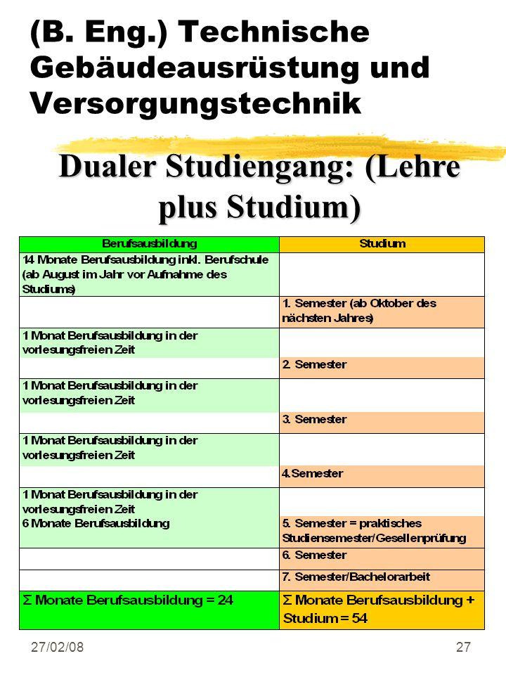 27/02/0827 (B. Eng.) Technische Gebäudeausrüstung und Versorgungstechnik Dualer Studiengang: (Lehre plus Studium)