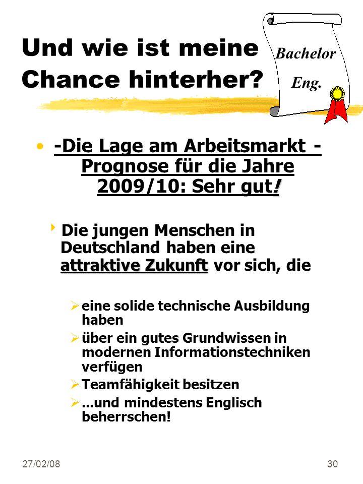 27/02/0830 Und wie ist meine Chance hinterher? !-Die Lage am Arbeitsmarkt - Prognose für die Jahre 2009/10: Sehr gut! attraktive Zukunft Die jungen Me