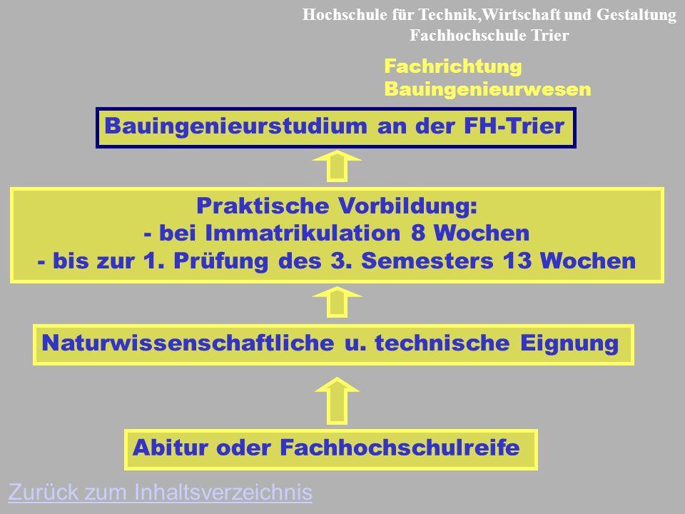 Hochschule für Technik,Wirtschaft und Gestaltung Fachhochschule Trier Fachrichtung Bauingenieurwesen Abitur oder Fachhochschulreife Praktische Vorbildung: - bei Immatrikulation 8 Wochen - bis zur 1.