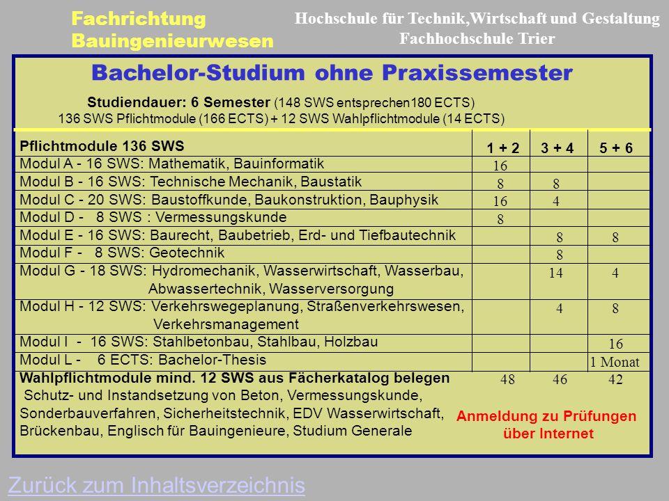 Bachelor-Studium ohne Praxissemester Pflichtmodule 136 SWS Modul A - 16 SWS: Mathematik, Bauinformatik Modul B - 16 SWS: Technische Mechanik, Baustatik Modul C - 20 SWS: Baustoffkunde, Baukonstruktion, Bauphysik Modul D - 8 SWS : Vermessungskunde Modul E - 16 SWS: Baurecht, Baubetrieb, Erd- und Tiefbautechnik Modul F - 8 SWS: Geotechnik Modul G - 18 SWS: Hydromechanik, Wasserwirtschaft, Wasserbau, Abwassertechnik, Wasserversorgung Modul H - 12 SWS: Verkehrswegeplanung, Straßenverkehrswesen, Verkehrsmanagement Modul I - 16 SWS: Stahlbetonbau, Stahlbau, Holzbau Modul L - 6 ECTS: Bachelor-Thesis Wahlpflichtmodule mind.