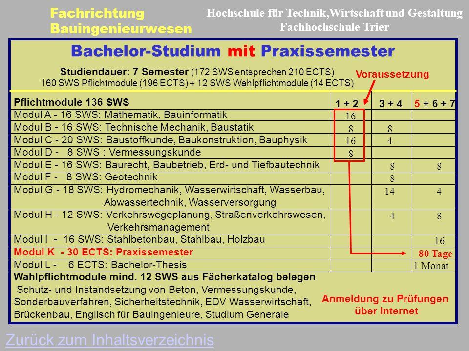 Bachelor-Studium mit Praxissemester Pflichtmodule 136 SWS Modul A - 16 SWS: Mathematik, Bauinformatik Modul B - 16 SWS: Technische Mechanik, Baustatik Modul C - 20 SWS: Baustoffkunde, Baukonstruktion, Bauphysik Modul D - 8 SWS : Vermessungskunde Modul E - 16 SWS: Baurecht, Baubetrieb, Erd- und Tiefbautechnik Modul F - 8 SWS: Geotechnik Modul G - 18 SWS: Hydromechanik, Wasserwirtschaft, Wasserbau, Abwassertechnik, Wasserversorgung Modul H - 12 SWS: Verkehrswegeplanung, Straßenverkehrswesen, Verkehrsmanagement Modul I - 16 SWS: Stahlbetonbau, Stahlbau, Holzbau Modul K - 30 ECTS: Praxissemester Modul L - 6 ECTS: Bachelor-Thesis Wahlpflichtmodule mind.
