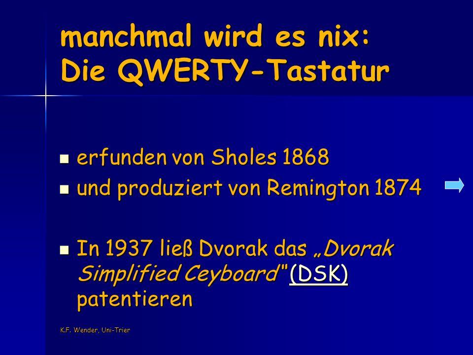 K.F. Wender, Uni-Trier manchmal wird es nix: Die QWERTY-Tastatur erfunden von Sholes 1868 erfunden von Sholes 1868 und produziert von Remington 1874 u