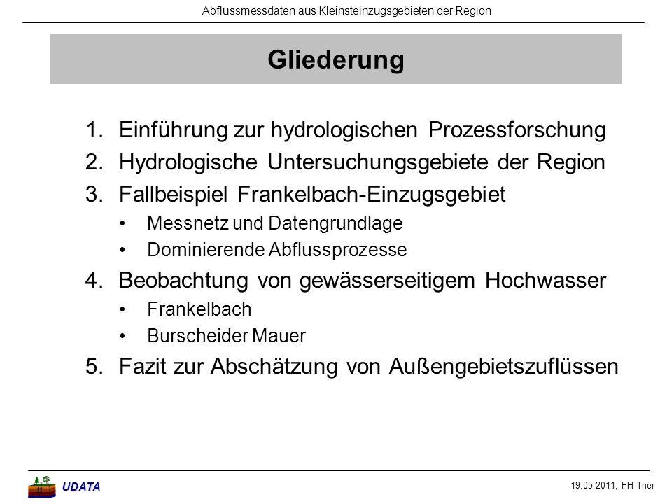 19.05.2011, FH Trier Abflussmessdaten aus Kleinsteinzugsgebieten der RegionUDATA Gliederung 1.Einführung zur hydrologischen Prozessforschung 2.Hydrolo