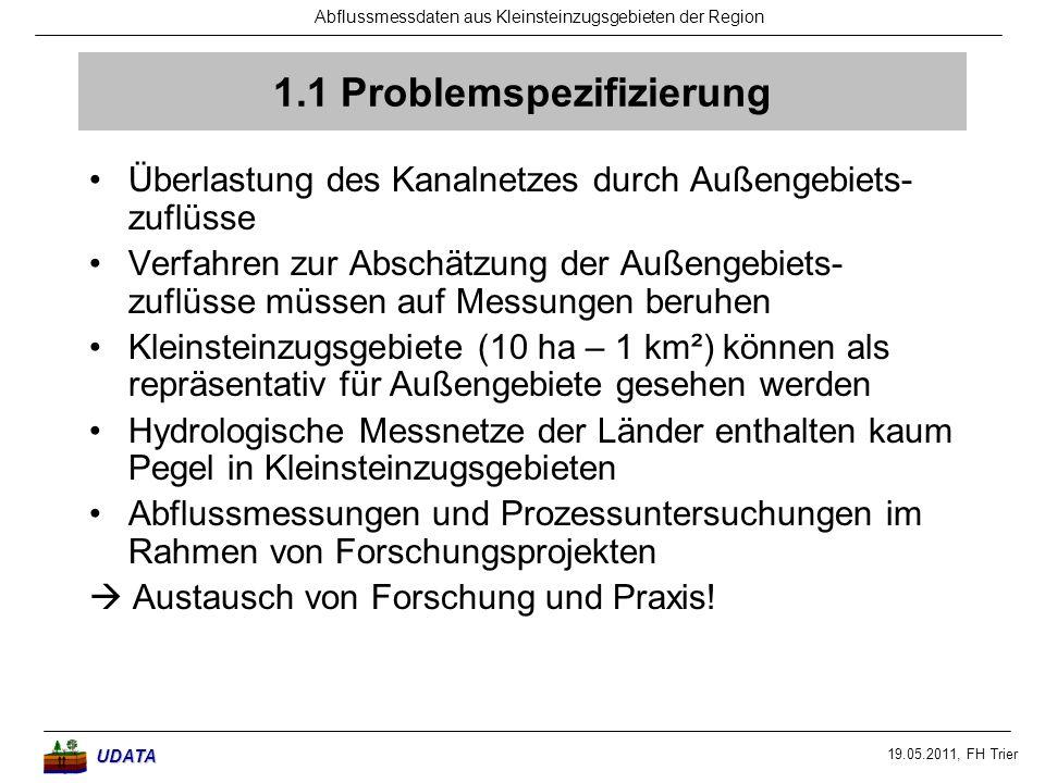 19.05.2011, FH Trier Abflussmessdaten aus Kleinsteinzugsgebieten der RegionUDATA 1.1 Problemspezifizierung Überlastung des Kanalnetzes durch Außengebi