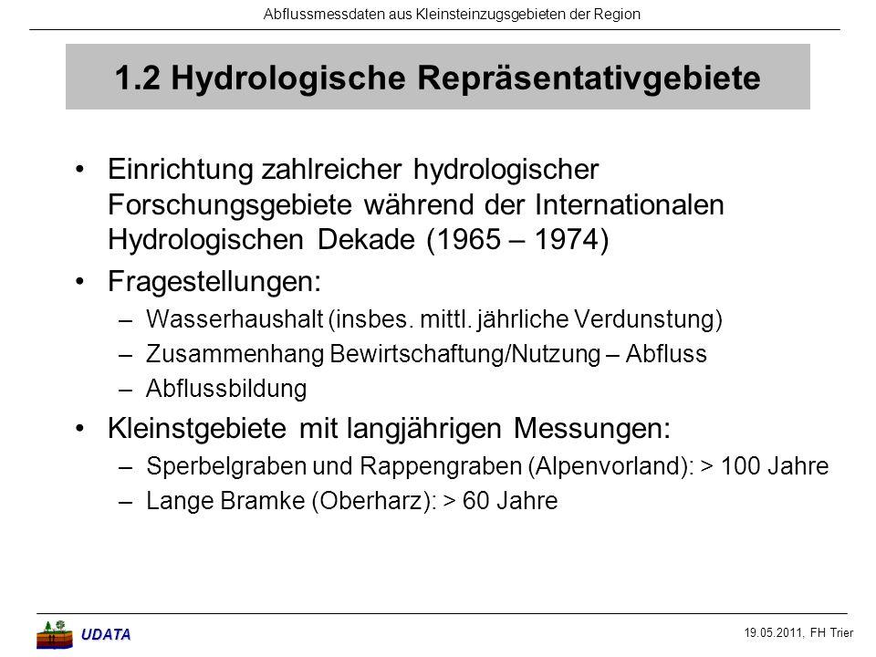 19.05.2011, FH Trier Abflussmessdaten aus Kleinsteinzugsgebieten der RegionUDATA 1.2 Hydrologische Repräsentativgebiete Einrichtung zahlreicher hydrol