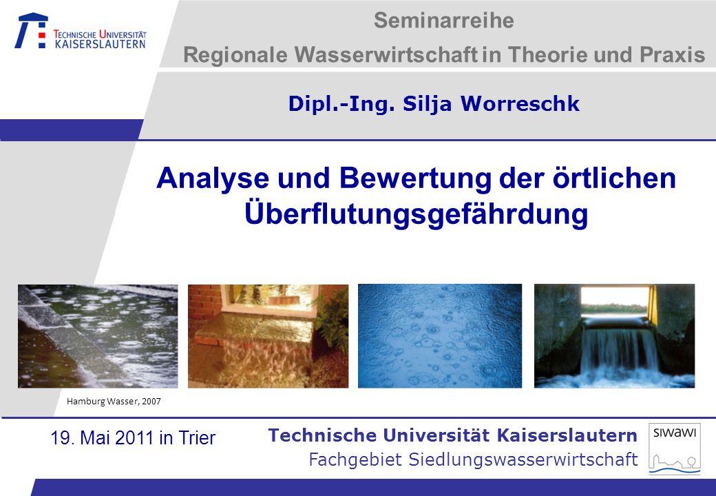 Technische Universität Kaiserslautern Analyse und Bewertung der örtlichen Überflutungsgefährdung Fachgebiet Siedlungswasserwirtschaft 21.01.2014 - 22 Anwendungsbeispiel Kaiserslautern-Mölschbach 1.