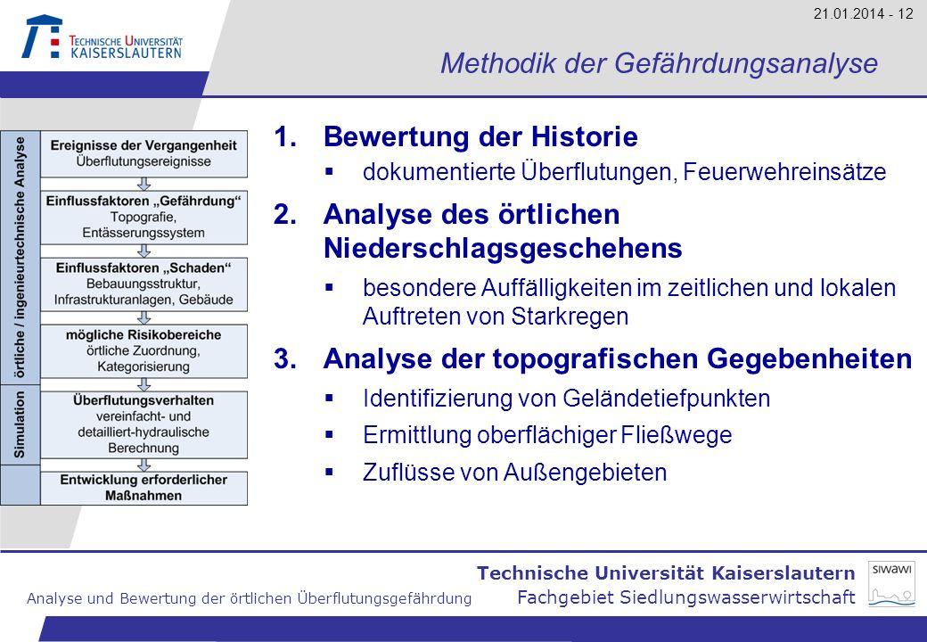 Technische Universität Kaiserslautern Analyse und Bewertung der örtlichen Überflutungsgefährdung Fachgebiet Siedlungswasserwirtschaft 21.01.2014 - 12