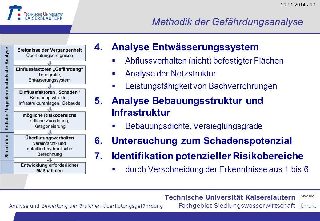 Technische Universität Kaiserslautern Analyse und Bewertung der örtlichen Überflutungsgefährdung Fachgebiet Siedlungswasserwirtschaft 21.01.2014 - 13