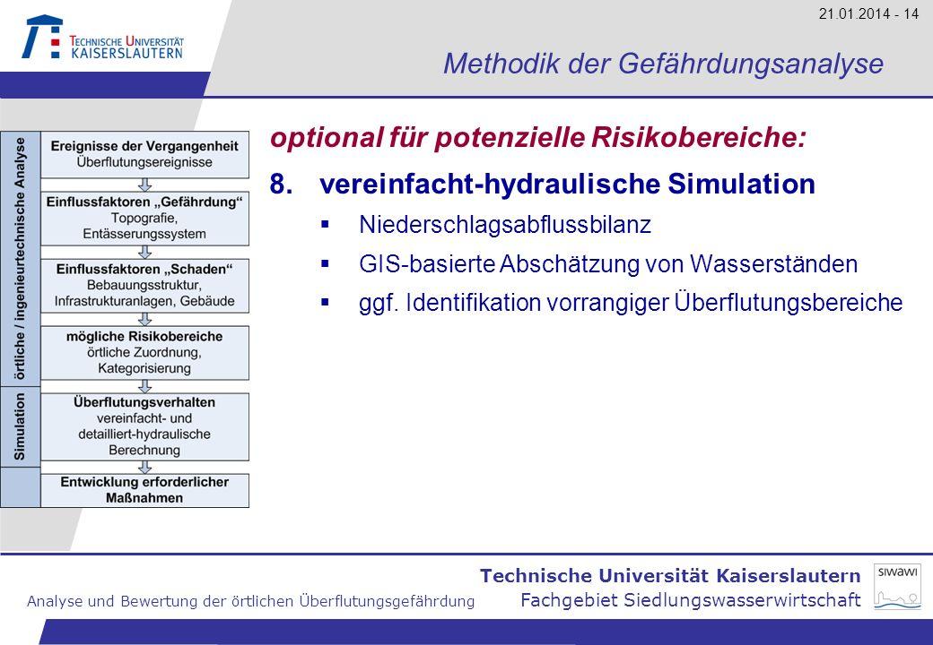 Technische Universität Kaiserslautern Analyse und Bewertung der örtlichen Überflutungsgefährdung Fachgebiet Siedlungswasserwirtschaft 21.01.2014 - 14