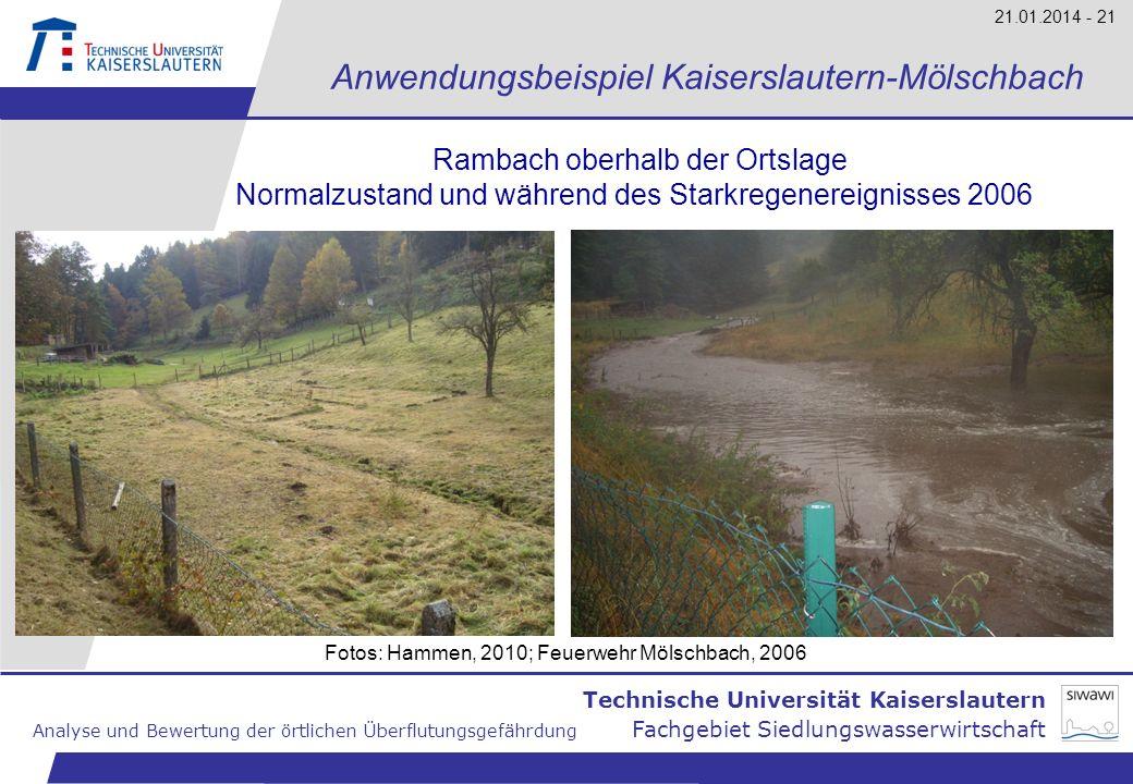 Technische Universität Kaiserslautern Analyse und Bewertung der örtlichen Überflutungsgefährdung Fachgebiet Siedlungswasserwirtschaft 21.01.2014 - 21