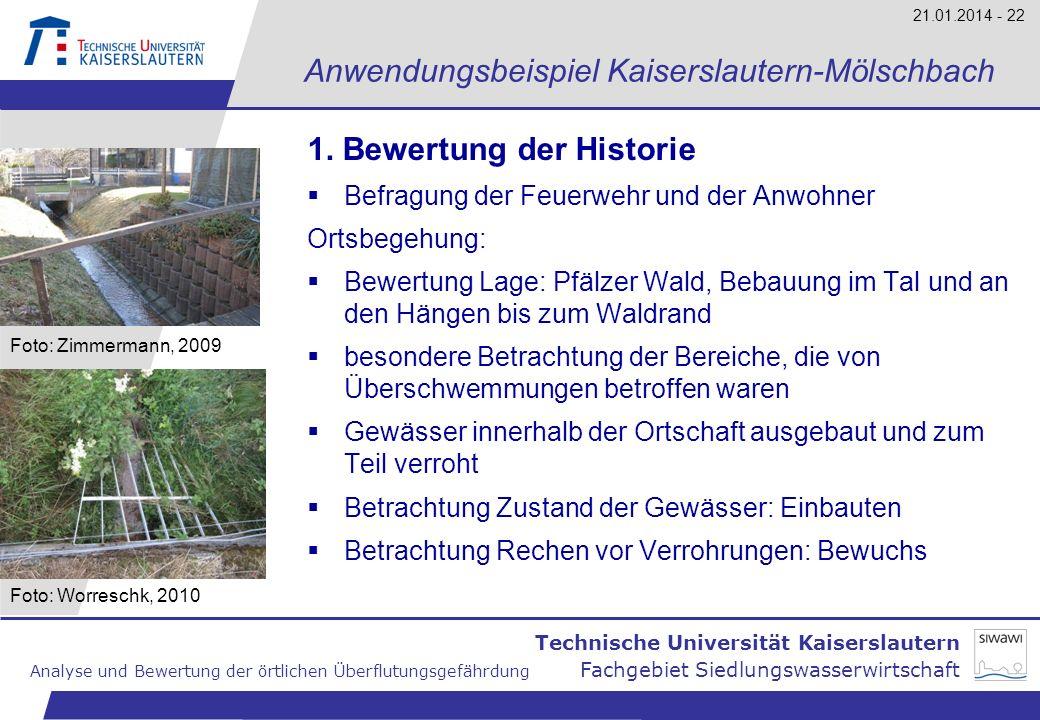 Technische Universität Kaiserslautern Analyse und Bewertung der örtlichen Überflutungsgefährdung Fachgebiet Siedlungswasserwirtschaft 21.01.2014 - 22