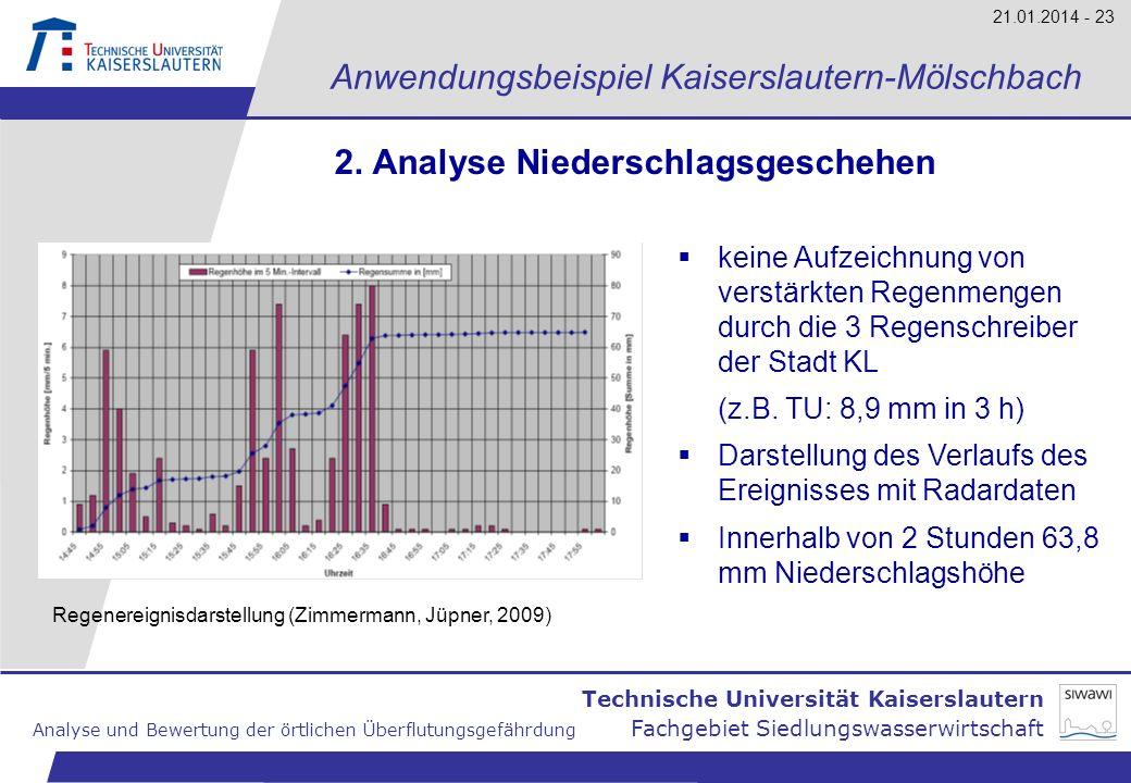 Technische Universität Kaiserslautern Analyse und Bewertung der örtlichen Überflutungsgefährdung Fachgebiet Siedlungswasserwirtschaft 21.01.2014 - 23