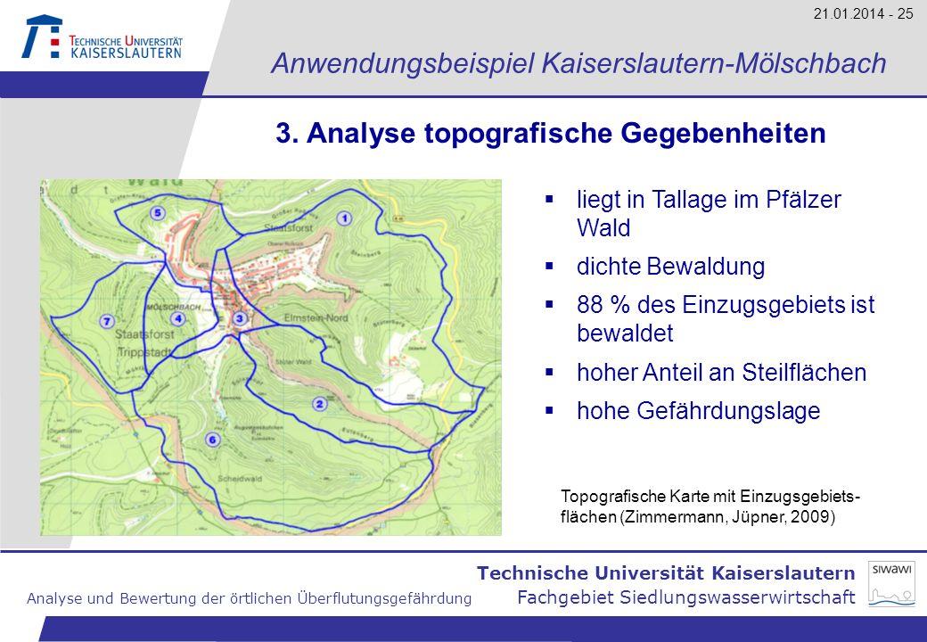 Technische Universität Kaiserslautern Analyse und Bewertung der örtlichen Überflutungsgefährdung Fachgebiet Siedlungswasserwirtschaft 21.01.2014 - 25