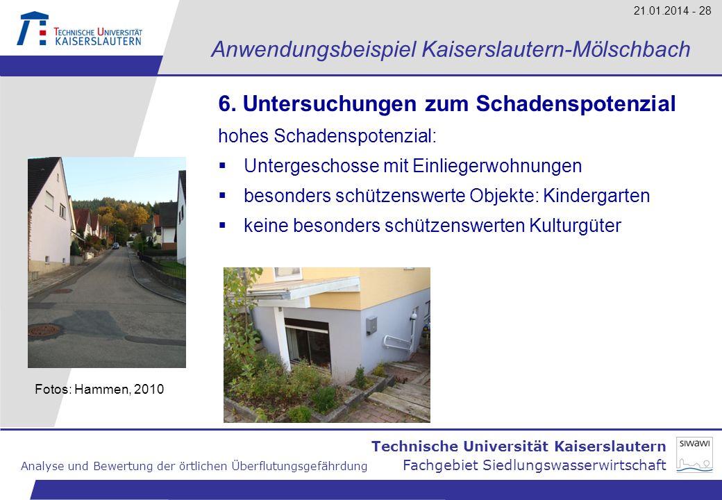 Technische Universität Kaiserslautern Analyse und Bewertung der örtlichen Überflutungsgefährdung Fachgebiet Siedlungswasserwirtschaft 21.01.2014 - 28