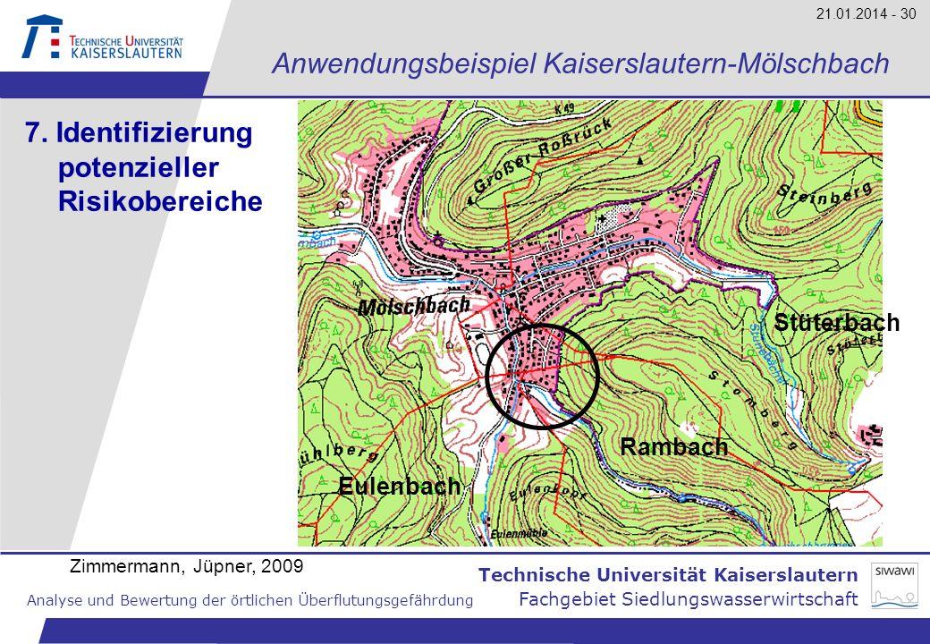 Technische Universität Kaiserslautern Analyse und Bewertung der örtlichen Überflutungsgefährdung Fachgebiet Siedlungswasserwirtschaft 21.01.2014 - 30