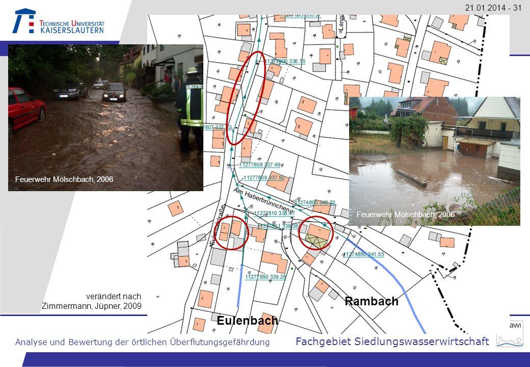 Technische Universität Kaiserslautern Analyse und Bewertung der örtlichen Überflutungsgefährdung Fachgebiet Siedlungswasserwirtschaft 21.01.2014 - 31