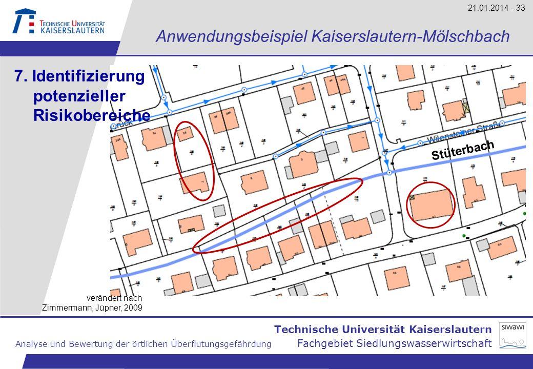 Technische Universität Kaiserslautern Analyse und Bewertung der örtlichen Überflutungsgefährdung Fachgebiet Siedlungswasserwirtschaft 21.01.2014 - 33