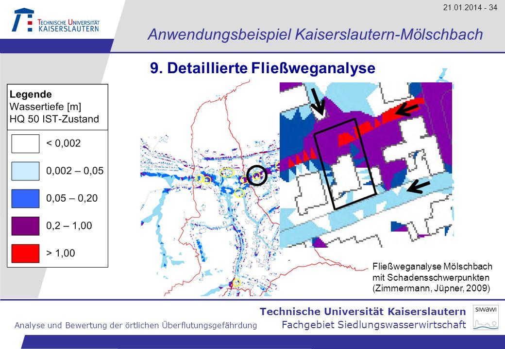 Technische Universität Kaiserslautern Analyse und Bewertung der örtlichen Überflutungsgefährdung Fachgebiet Siedlungswasserwirtschaft 21.01.2014 - 34
