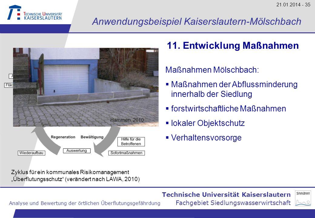 Technische Universität Kaiserslautern Analyse und Bewertung der örtlichen Überflutungsgefährdung Fachgebiet Siedlungswasserwirtschaft 21.01.2014 - 35