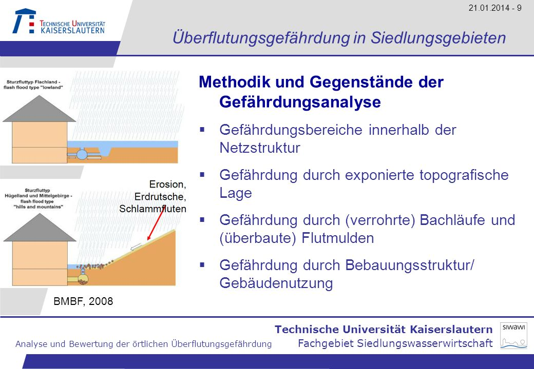 Technische Universität Kaiserslautern Analyse und Bewertung der örtlichen Überflutungsgefährdung Fachgebiet Siedlungswasserwirtschaft 21.01.2014 - 9 Ü