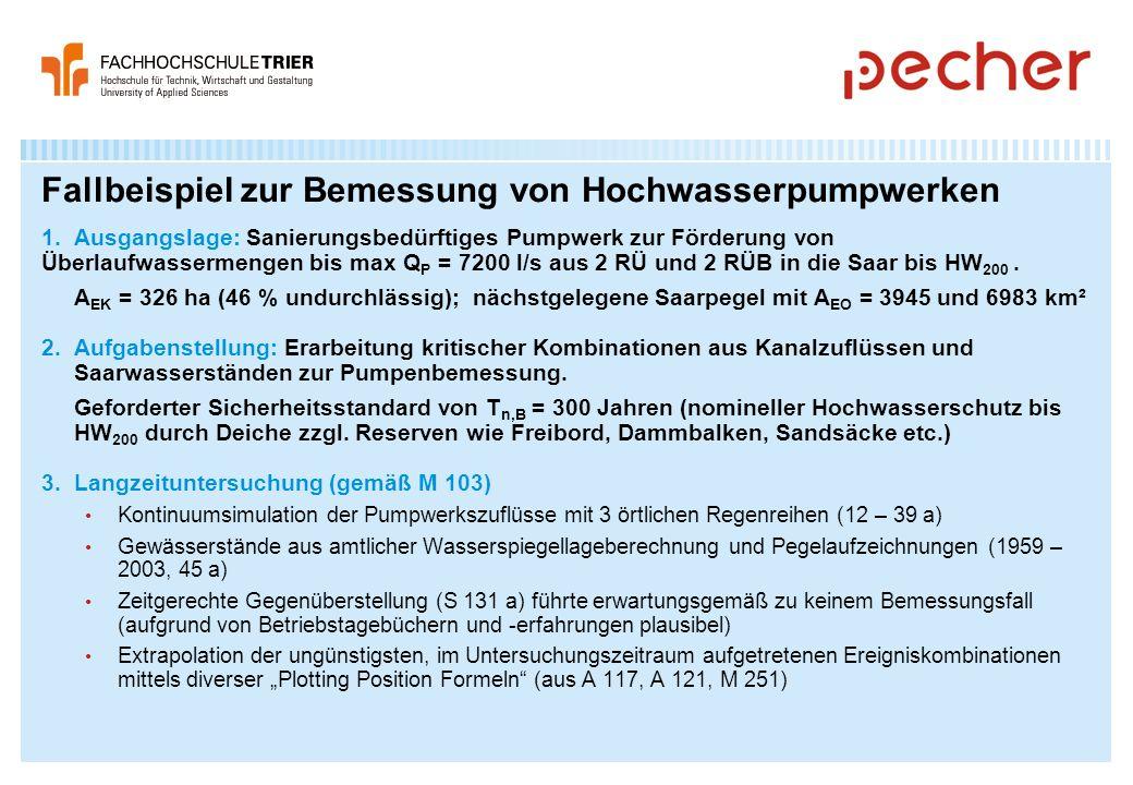 Fallbeispiel zur Bemessung von Hochwasserpumpwerken 1. Ausgangslage: Sanierungsbedürftiges Pumpwerk zur Förderung von Überlaufwassermengen bis max Q P