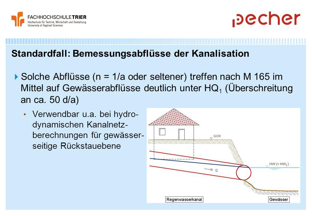 Standardfall: Bemessungsabflüsse der Kanalisation Solche Abflüsse (n = 1/a oder seltener) treffen nach M 165 im Mittel auf Gewässerabflüsse deutlich u