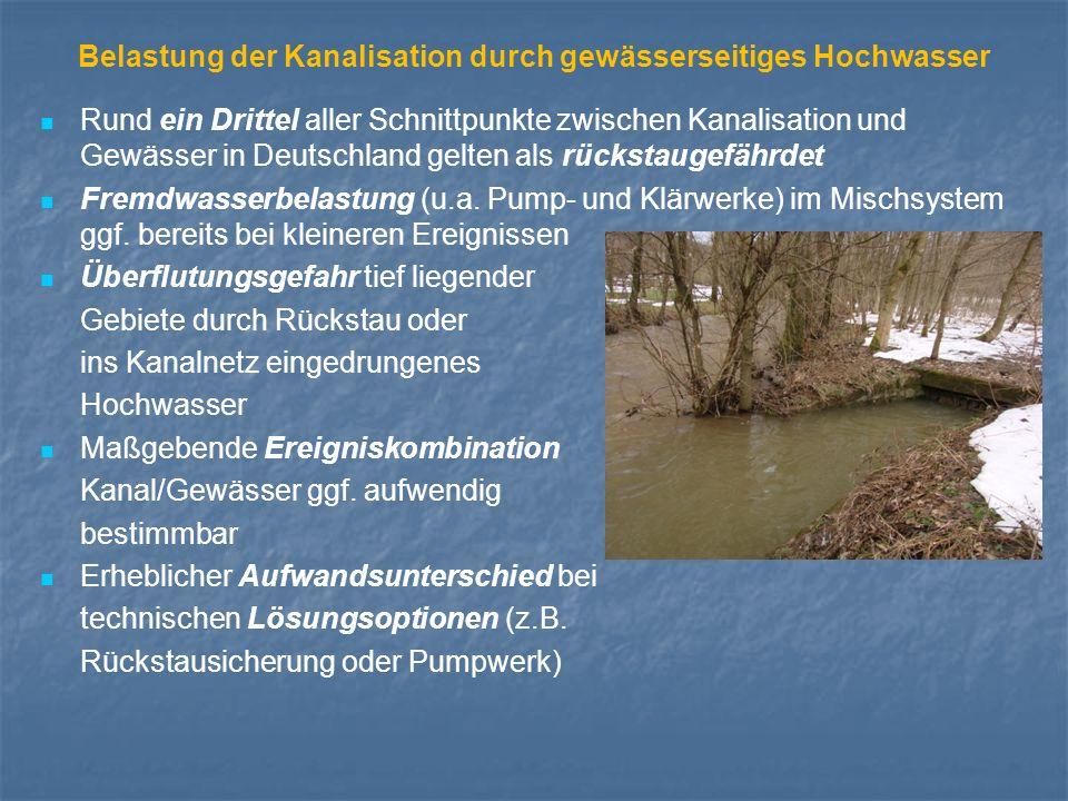 Belastung der Kanalisation durch gewässerseitiges Hochwasser Rund ein Drittel aller Schnittpunkte zwischen Kanalisation und Gewässer in Deutschland gelten als rückstaugefährdet Fremdwasserbelastung (u.a.