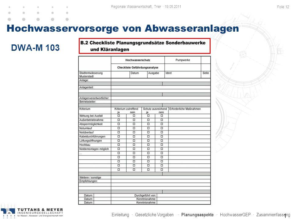 Einleitung · Gesetzliche Vorgaben · Planungsaspekte · HochwasserGEP · Zusammenfassung Hochwasservorsorge von Abwasseranlagen DWA-M 103 1 Regionale Was