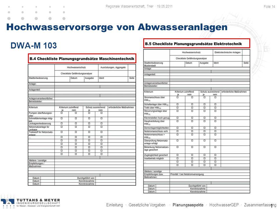 Einleitung · Gesetzliche Vorgaben · Planungsaspekte · HochwasserGEP · Zusammenfassung Hochwasservorsorge von Abwasseranlagen 1 DWA-M 103 Regionale Was