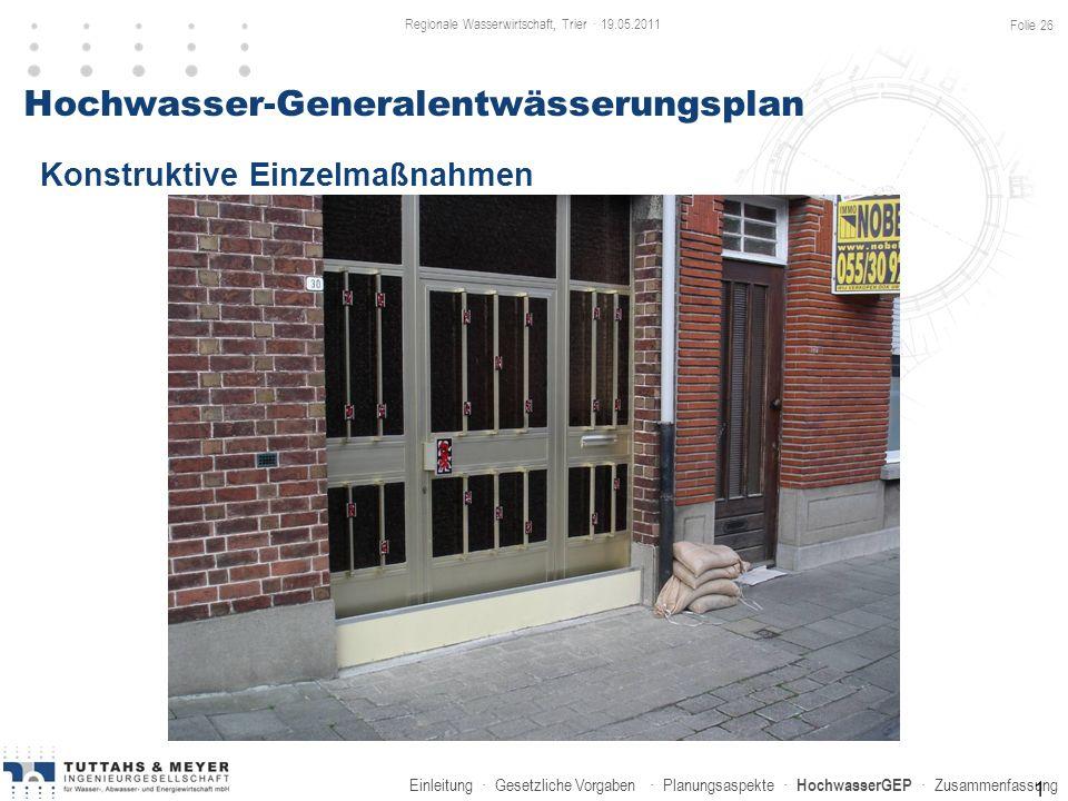 Einleitung · Gesetzliche Vorgaben · Planungsaspekte · HochwasserGEP · Zusammenfassung 1 Hochwasser-Generalentwässerungsplan Konstruktive Einzelmaßnahm