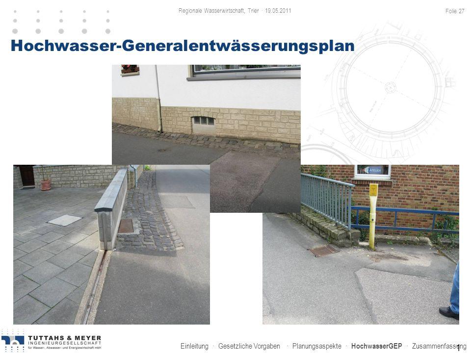Einleitung · Gesetzliche Vorgaben · Planungsaspekte · HochwasserGEP · Zusammenfassung 1 Hochwasser-Generalentwässerungsplan Regionale Wasserwirtschaft