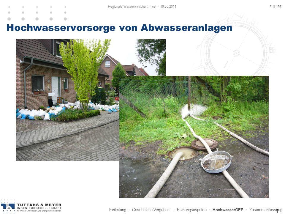 Einleitung · Gesetzliche Vorgaben · Planungsaspekte · HochwasserGEP · Zusammenfassung Hochwasservorsorge von Abwasseranlagen 1 Regionale Wasserwirtsch