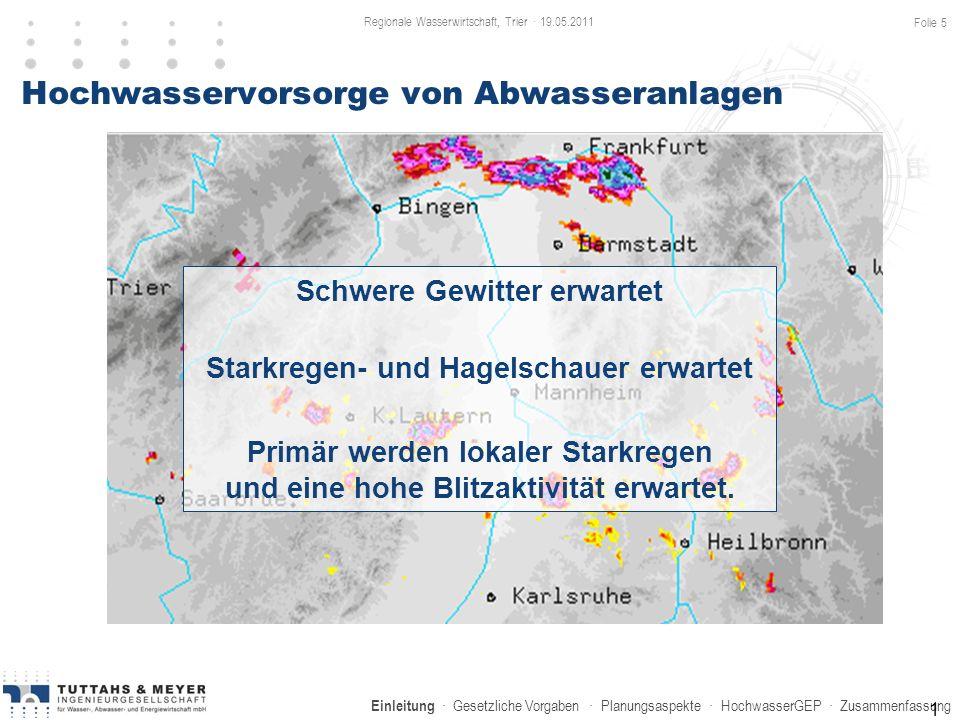 Einleitung · Gesetzliche Vorgaben · Planungsaspekte · HochwasserGEP · Zusammenfassung Hochwasservorsorge von Abwasseranlagen 1 Schwere Gewitter erwart