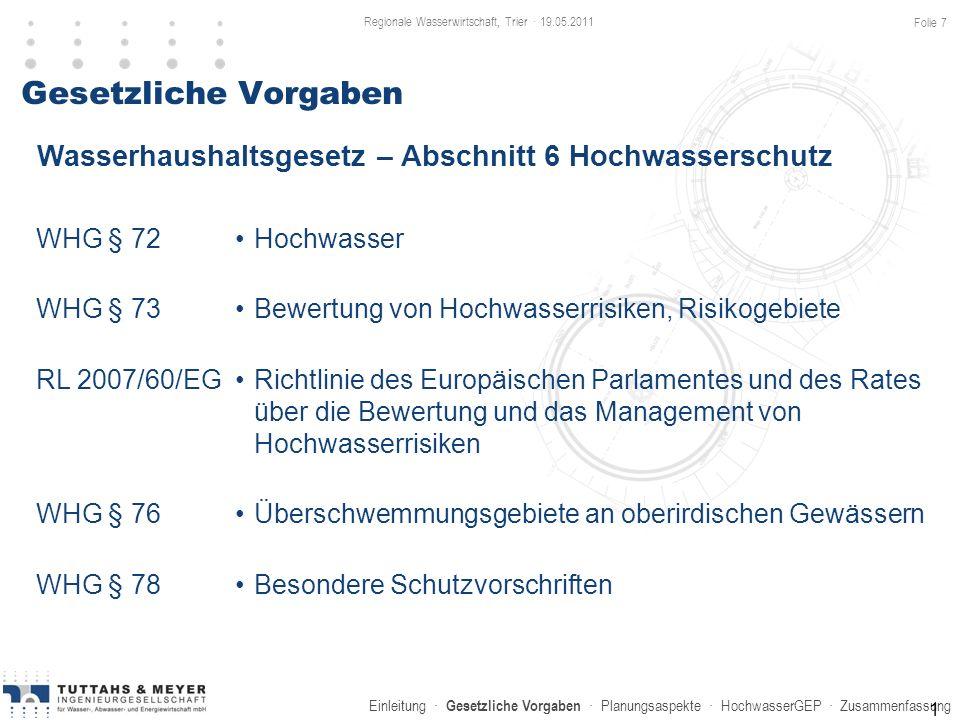 Einleitung · Gesetzliche Vorgaben · Planungsaspekte · HochwasserGEP · Zusammenfassung Gesetzliche Vorgaben WHG § 72 WHG § 73 RL 2007/60/EG WHG § 76 WH