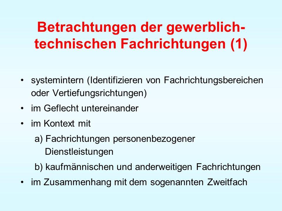 Betrachtungen der gewerblich- technischen Fachrichtungen (1) systemintern (Identifizieren von Fachrichtungsbereichen oder Vertiefungsrichtungen) im Ge