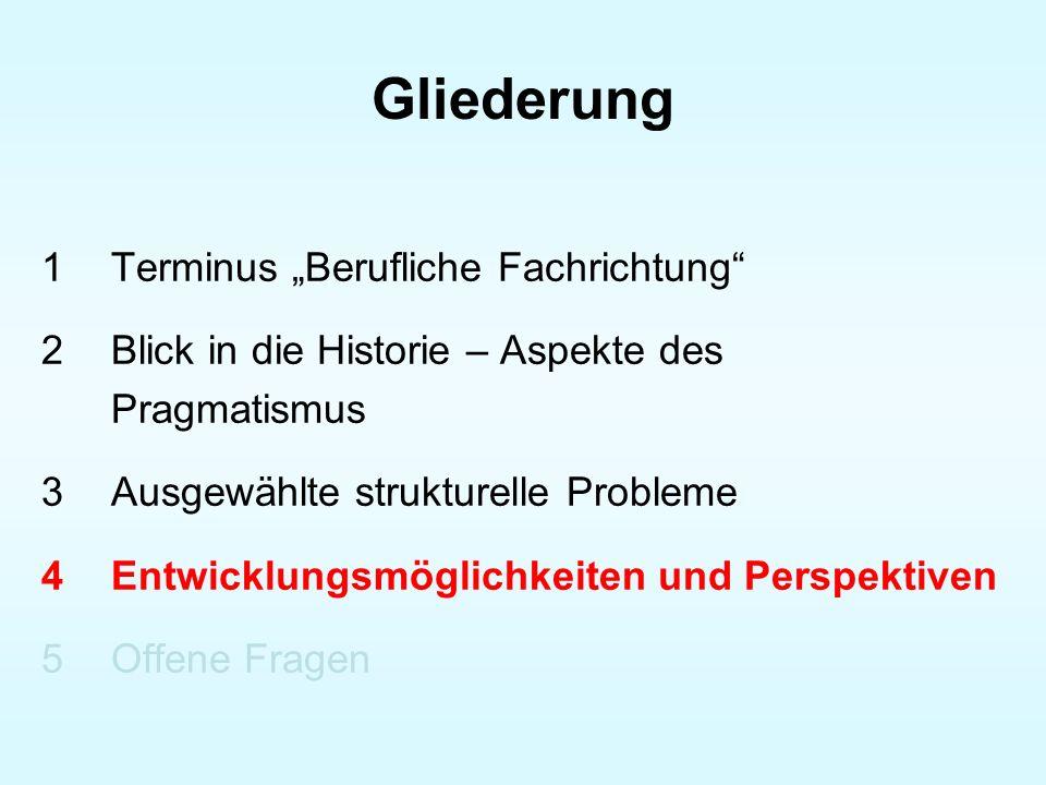 Gliederung 1Terminus Berufliche Fachrichtung 2Blick in die Historie – Aspekte des Pragmatismus 3Ausgewählte strukturelle Probleme 4Entwicklungsmöglich