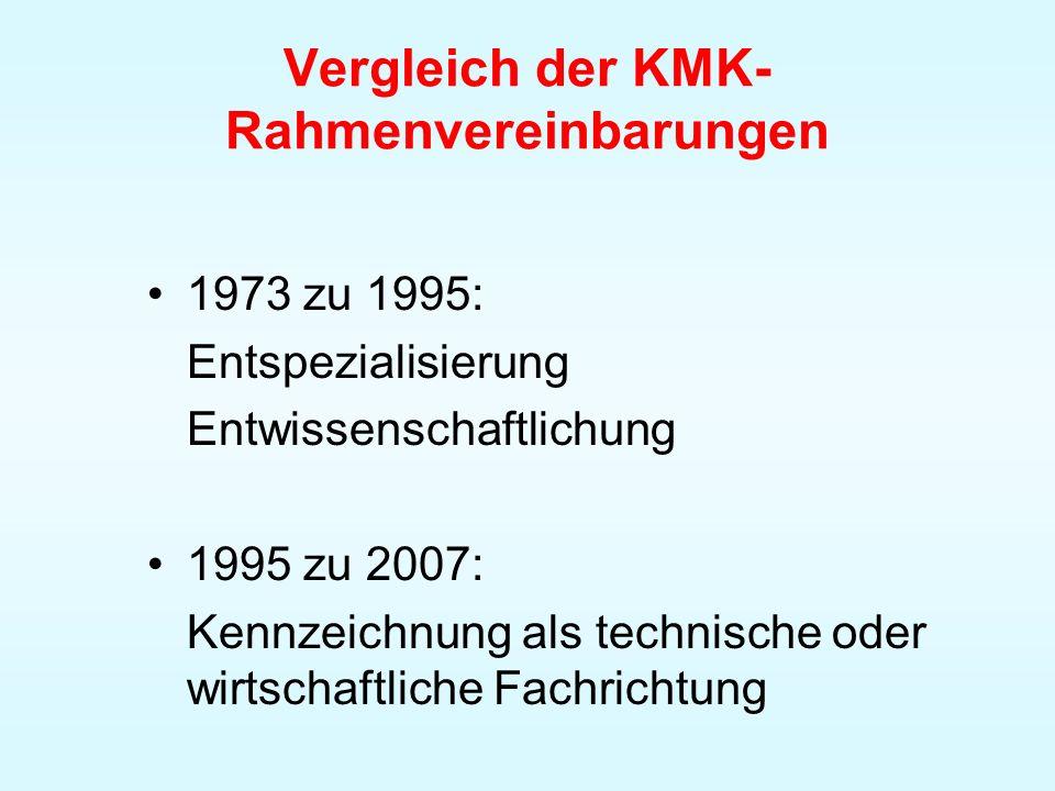 Vergleich der KMK- Rahmenvereinbarungen 1973 zu 1995: Entspezialisierung Entwissenschaftlichung 1995 zu 2007: Kennzeichnung als technische oder wirtsc