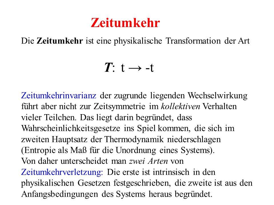 Die Zeitumkehr ist eine physikalische Transformation der Art Zeitumkehrinvarianz der zugrunde liegenden Wechselwirkung führt aber nicht zur Zeitsymmet